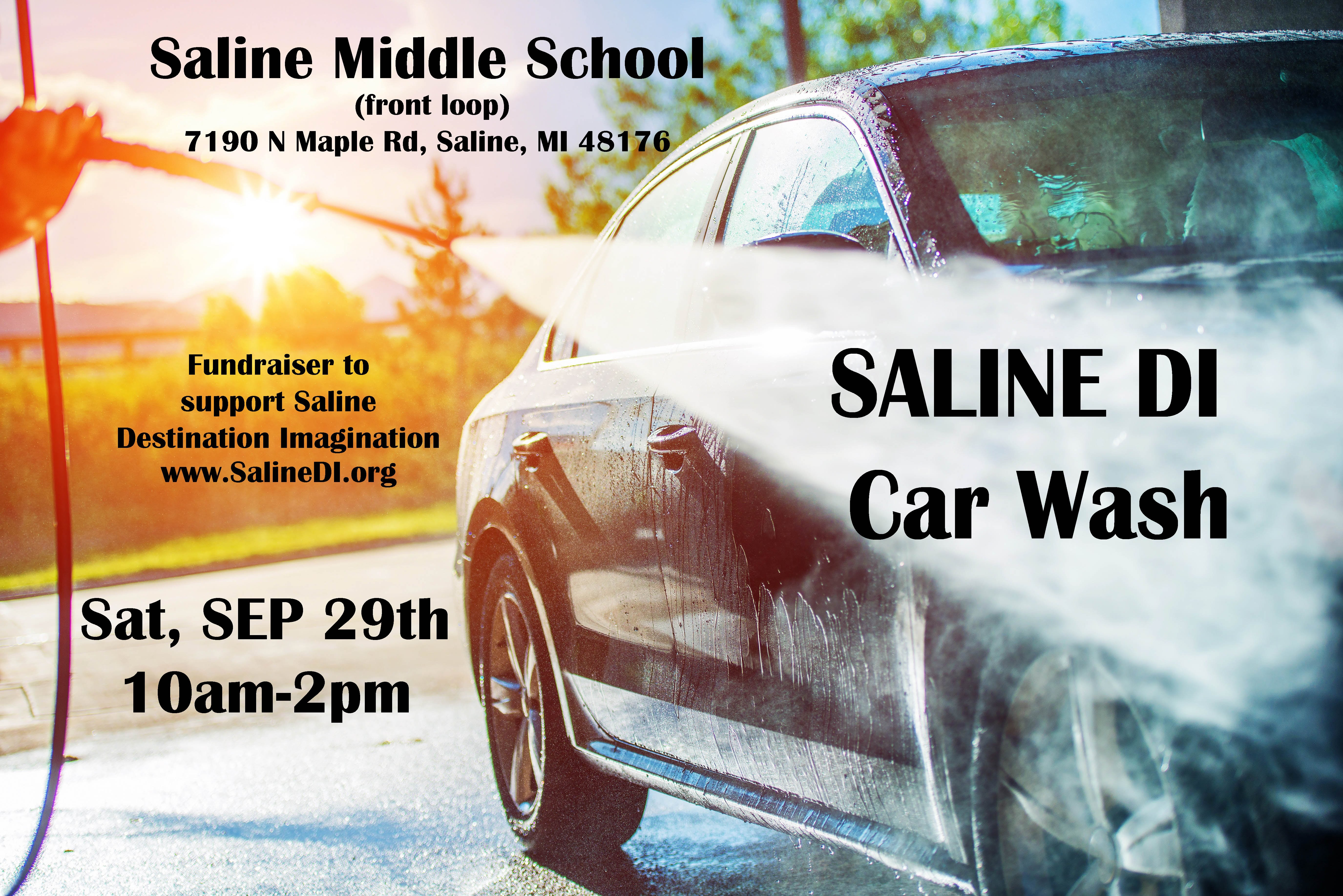Car wash 9/29 from 10am to 2pm at Saline Middle School