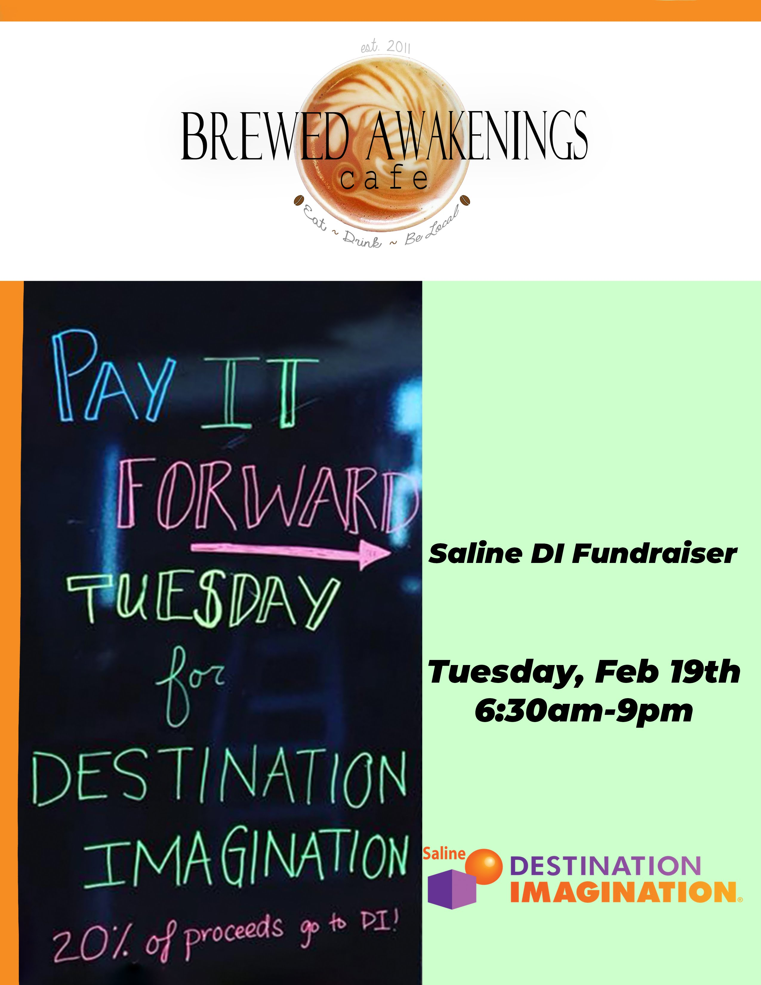 Brewed Awakenings will donate 20% of sales on 2/19/2019